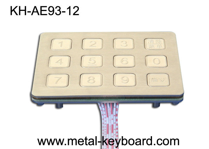 12 Keys Outdoor  Access Kiosk Metal Keypad with IP65 Water proof