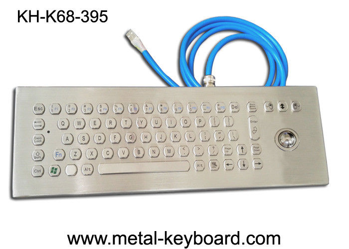 70 Keys Ruggedized Keyboard , Stainless Steel Access Kiosk Keyboard with trackball
