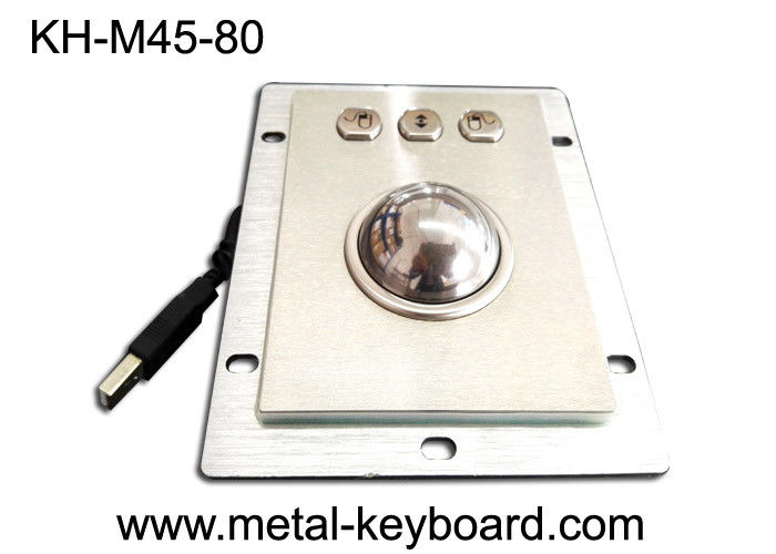 Panel Mounted Stainless Steel Kiosk Trackball Diameter 45mm Ball Optical Encoders
